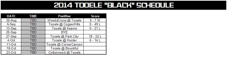 2014 black schedule