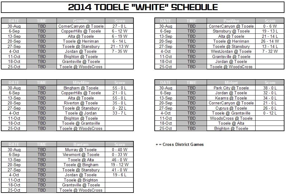 2014 white schedule